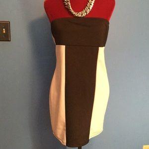 Strapless color blocked dress